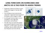 long term data on hurricanes and arctic ice is too poor to assess trends