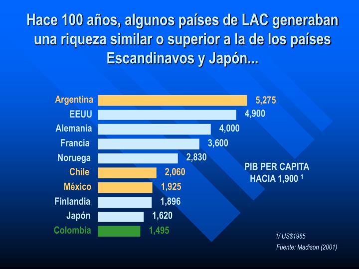 Hace 100 años, algunos países de LAC generaban una riqueza similar o superior a la de los países ...