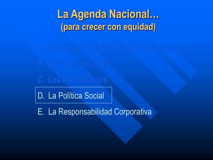 La Agenda Nacional…