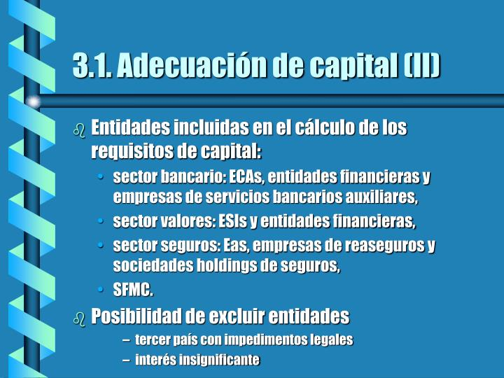 3.1. Adecuación de capital (II)