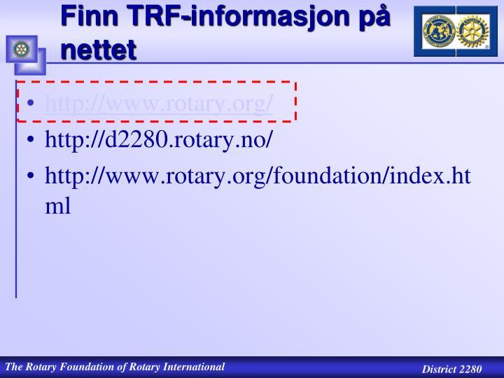 Finn TRF-informasjon på nettet