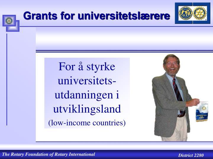 Grants for universitetslærere