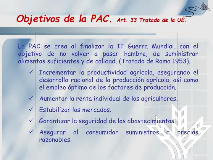 Objetivos de la PAC.