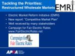 tackling the priorities restructured wholesale markets