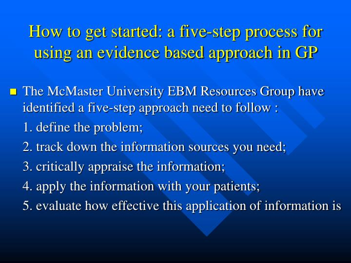 How to get started: a five-step process for using an evidence based approach in GP