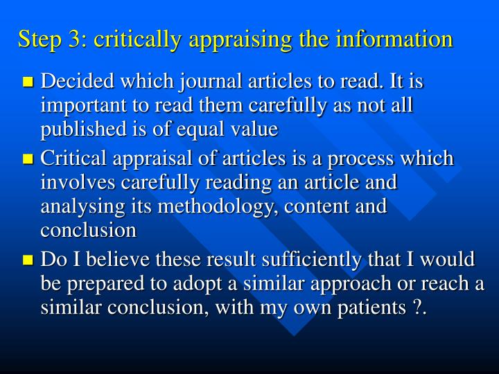 Step 3: critically appraising the information