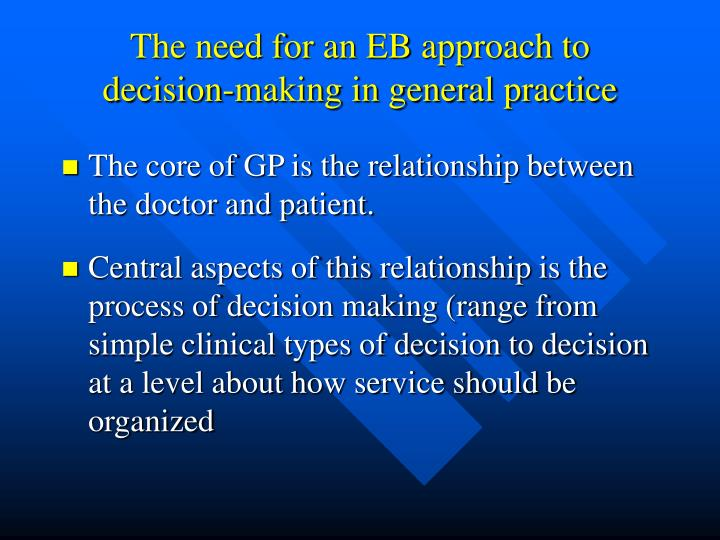 The need for an EB approach to decision-making in general practice
