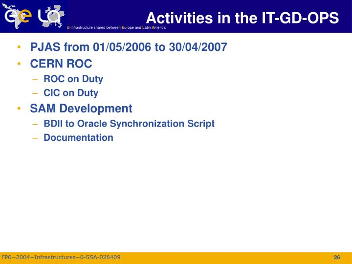 Activities in the IT-GD-OPS