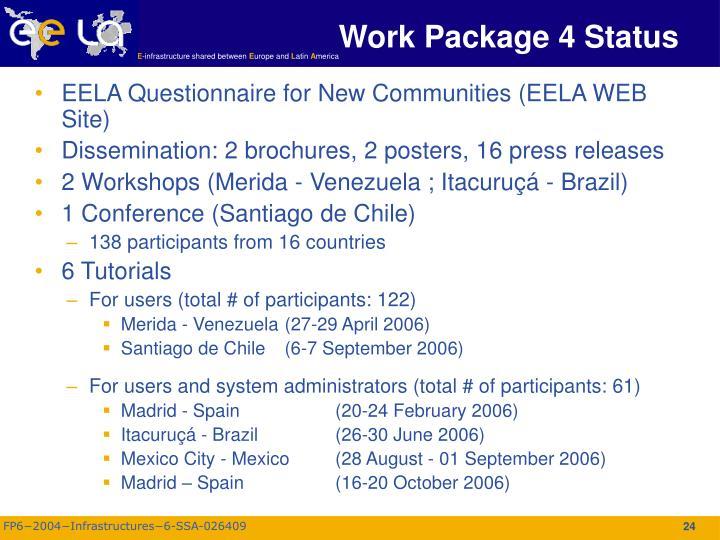 Work Package 4 Status