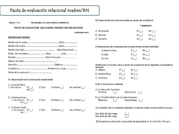 Pauta de evaluación relacional madres/RN