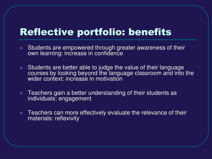 Reflective portfolio: benefits