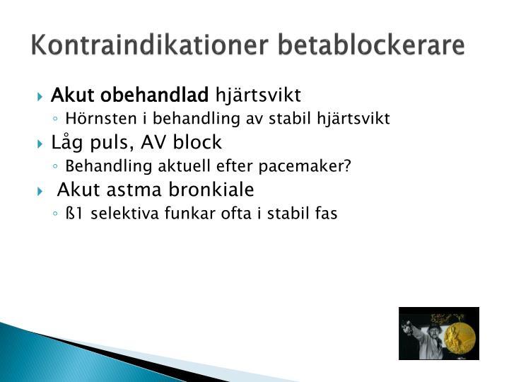Kontraindikationer betablockerare