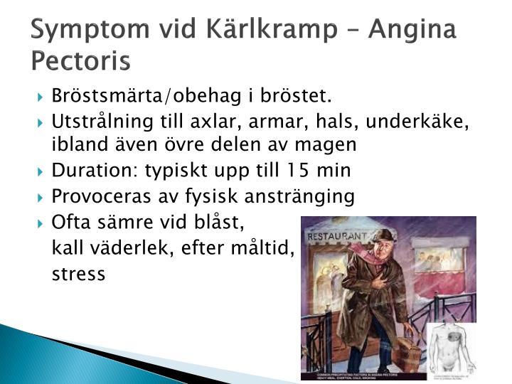 Symptom vid Kärlkramp – Angina Pectoris