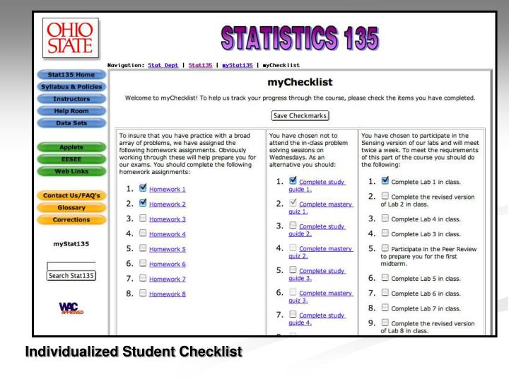 Individualized Student Checklist