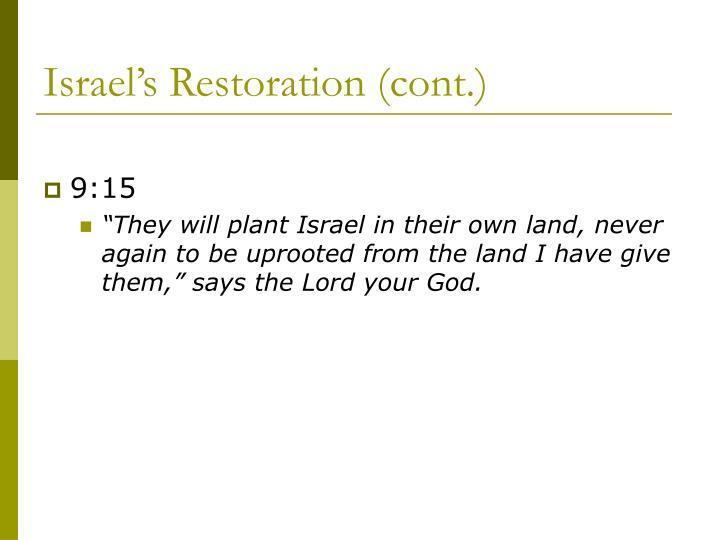 Israel's Restoration (cont.)