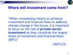 where will investment come from