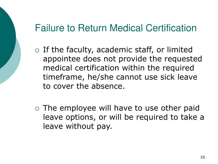 Failure to Return Medical Certification