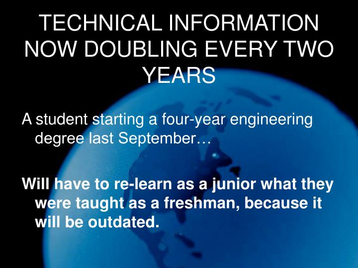 TECHNICAL INFORMATION NOW DOUBLING EVERY TWO YEARS