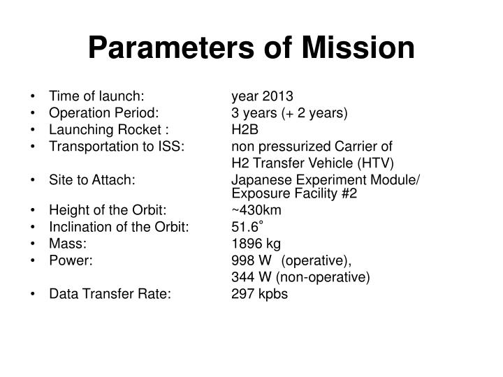 Parameters of Mission