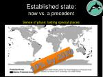 established state now vs a precedent