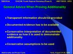 general advice when proving additionality