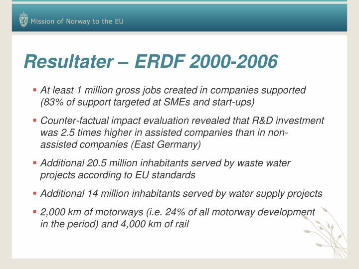 Resultater – ERDF 2000-2006