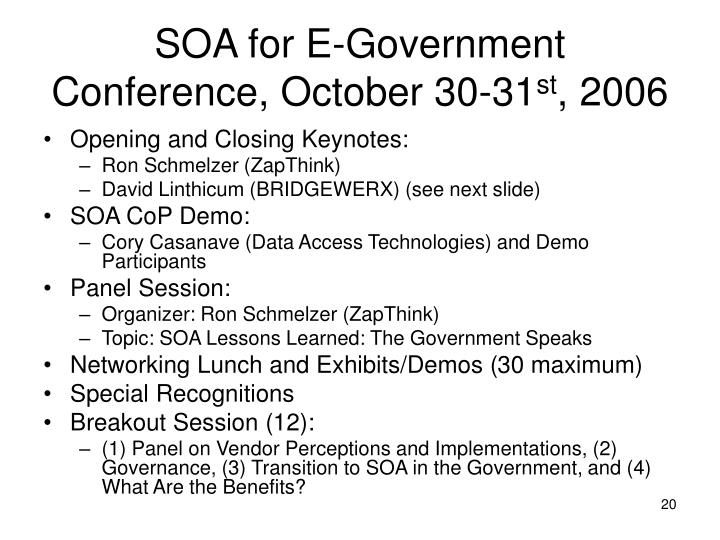 SOA for E-Government Conference, October 30-31
