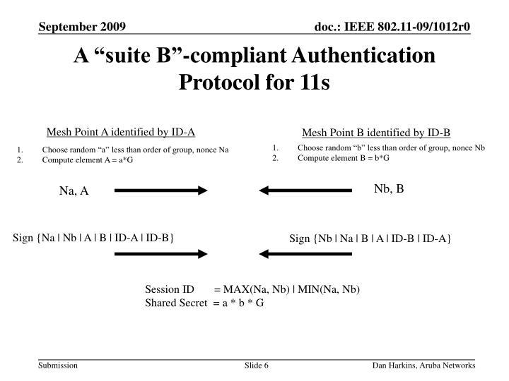 "A ""suite B""-compliant Authentication Protocol for 11s"