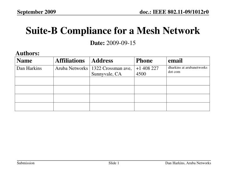 Suite b compliance for a mesh network
