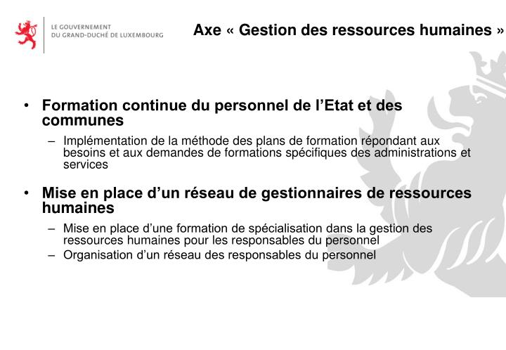 Axe « Gestion des ressources humaines »