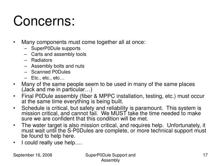 Concerns: