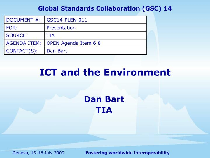 ict and the environment n.