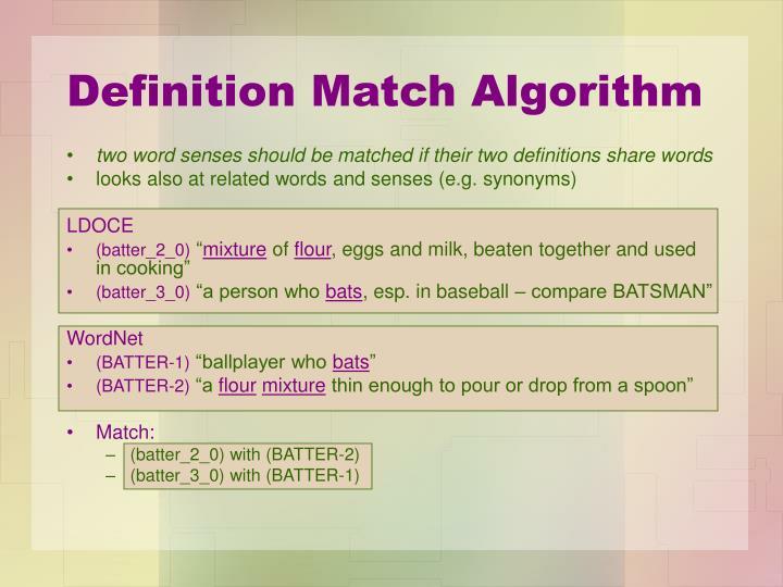 Definition Match Algorithm