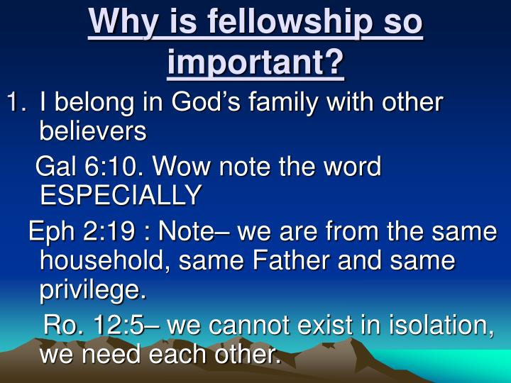 Why is fellowship so important