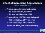 effect of inbreeding adjustments used in usa since 2005