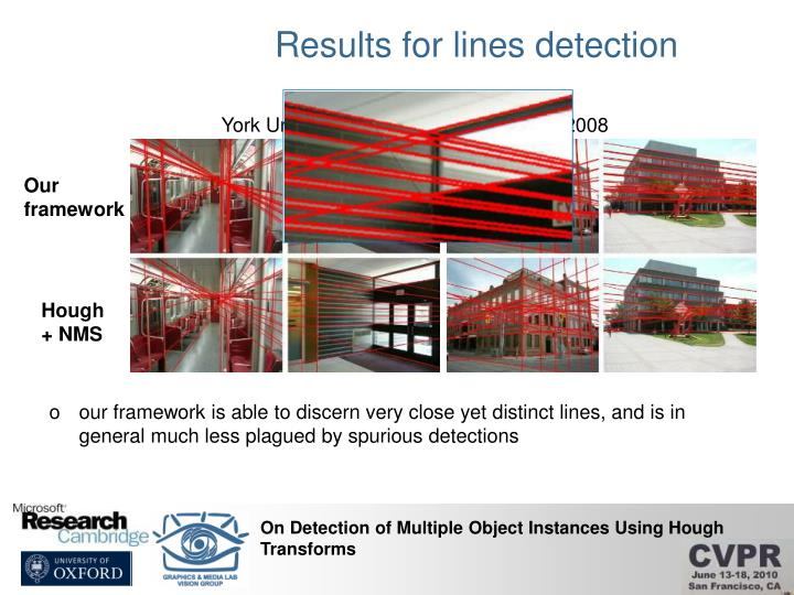 Results for lines detection