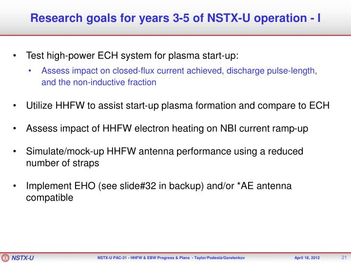 Research goals for years 3-5 of NSTX-U operation - I
