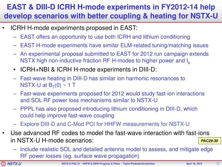 EAST & DIII-D ICRH H-mode experiments in FY2012-14 help develop scenarios with better coupling & heating for NSTX-U