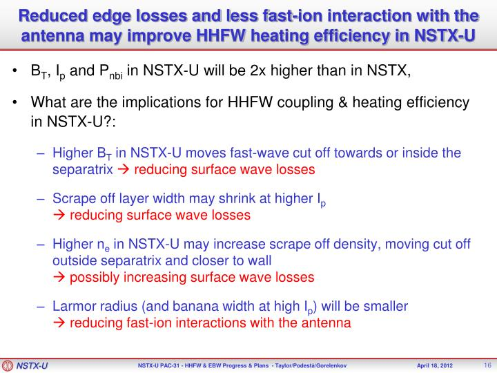 Reduced edge losses and less fast-ion interaction with the antenna may improve HHFW heating efficiency in NSTX-U
