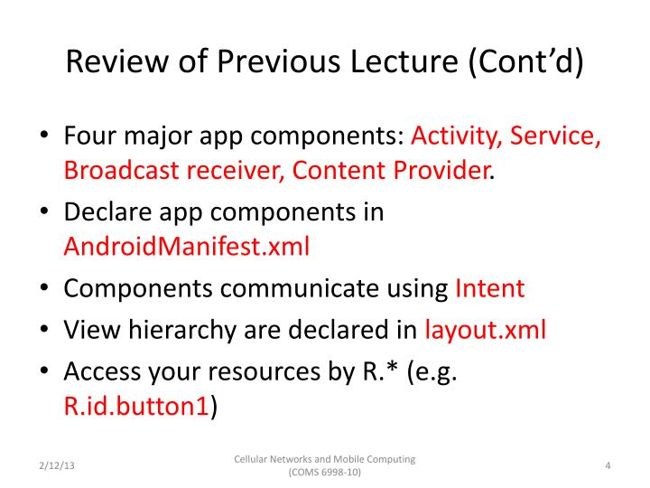Review of Previous Lecture (Cont'd)