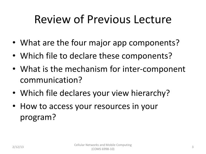 Review of previous lecture