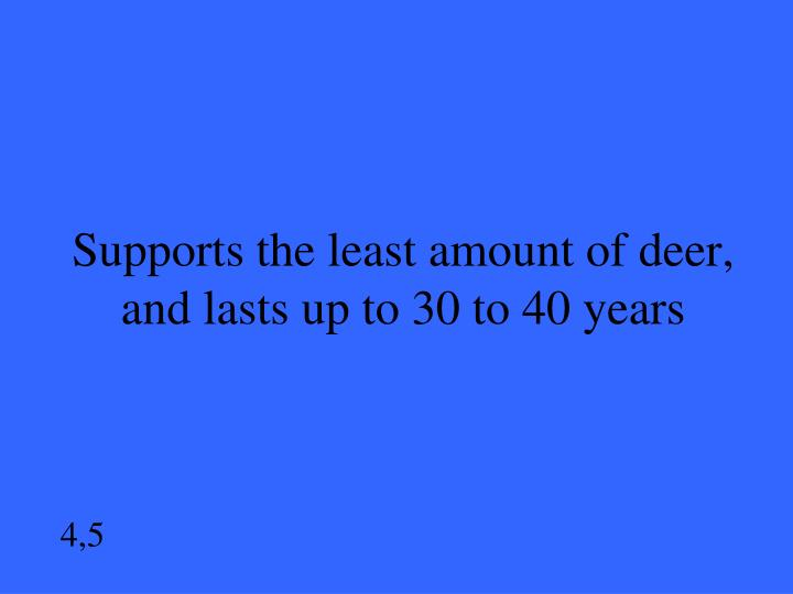 Supports the least amount of deer, and lasts up to 30 to 40 years