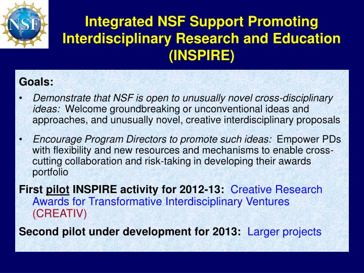 Integrated NSF Support Promoting