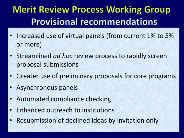Merit Review Process Working Group