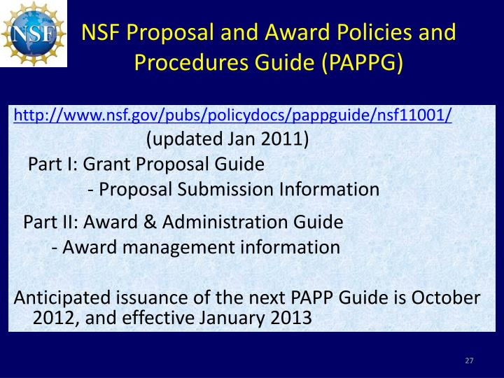 NSF Proposal and Award Policies and Procedures Guide (PAPPG)
