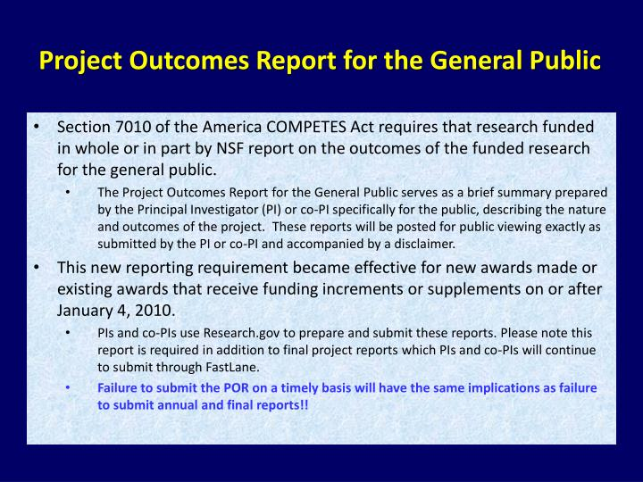 Project Outcomes Report for the General Public