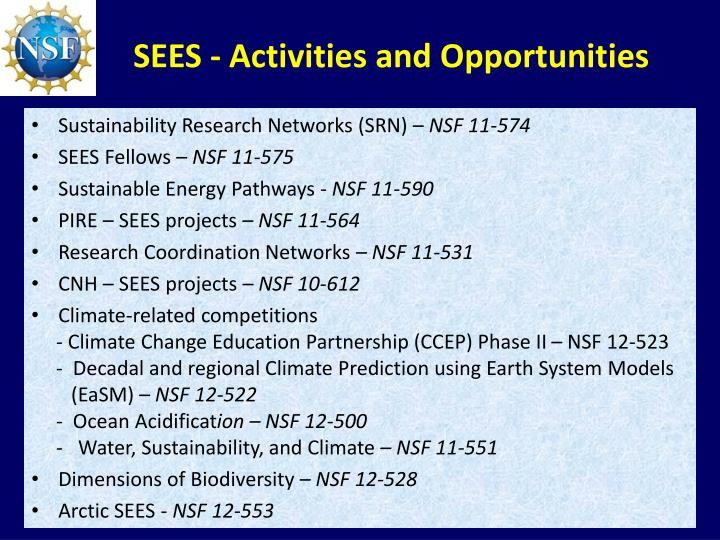 SEES - Activities and Opportunities