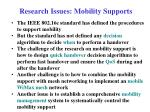 research issues mobility supports