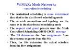 wimax mesh networks centralized scheduling