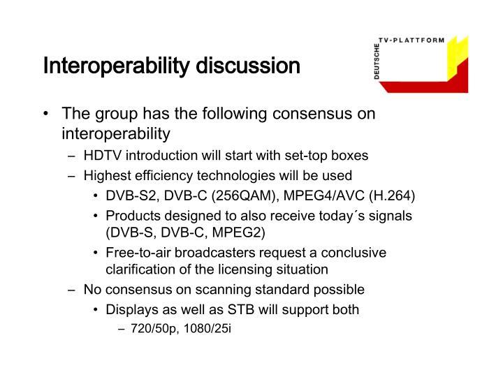 Interoperability discussion
